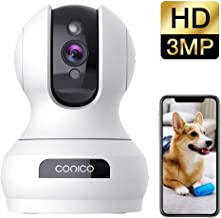Wireless Security Camera 1536P Pet Camera, CONICO 3MP Dog Cam Baby Monitor 360° Viewing..
