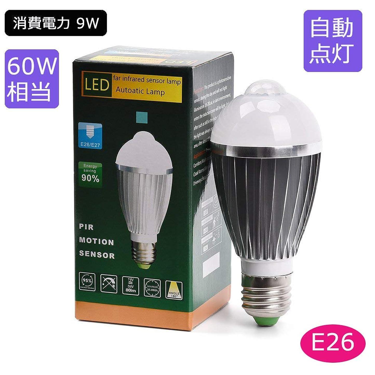 抵抗する系譜非効率的なSunwow LED人感センサー電球 LED電球 E26口金 9W 900LM 60W相当 昼白色 明暗と人感センサー付き ベッドサイドランプ