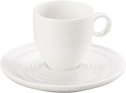 Conjunto 6 Xícaras para Cafe de Porcelana Wave Lyor Branco 90Ml
