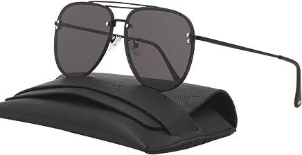22d6e947a81f ... Frame Oversized Round Polarized Sunglasses 86613 · VIVIENFANG Double  Bridge Oversized Rimless Aviator Sunglasses Flash Mirrored 87247