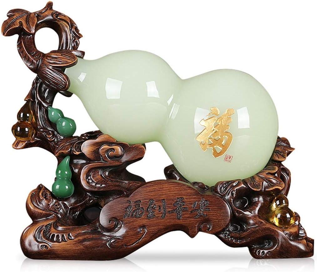 Estatua china de Feng Shui Decoración de calabaza de jade esmaltada Apertura de inauguración de la casa Regalo de cumpleaños Sala de estar Gabinete de vino Decoración de entrada Decoración de Feng Sh