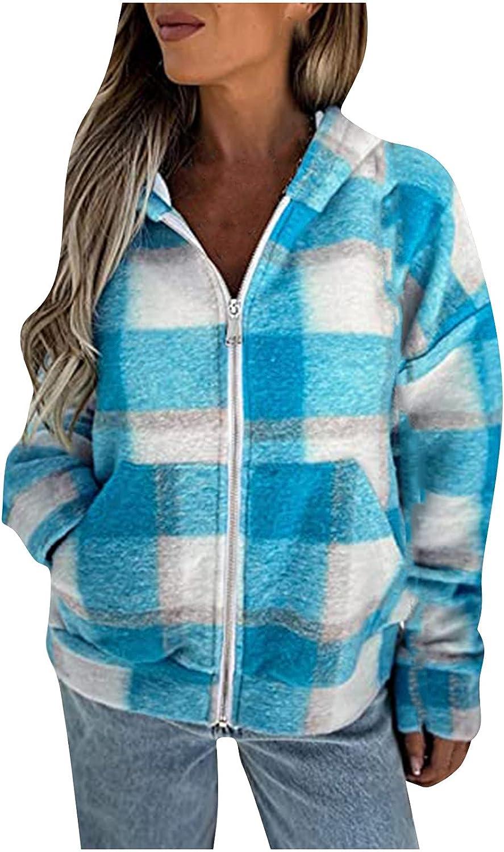 Women's Casual Lattice Printing Hooded Long Sleeve Pocket Cardigan Coat Tops Raincoat