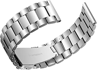 Joyozy Compatible with Samsung Galaxy Watch Bands 46mm/ Gear S3 Frontier SM-R760- Stainless Steel Strap Quick Release Replacement Watch Wristbands (Silver)