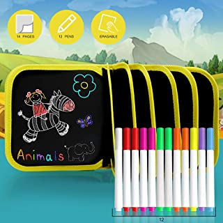 AriTan Portable Erasable Drawing Pad Toys for Kids, Double-Sided Reuse PVC Writing Board, 12 Colored erasable pens, 8×8 inches 14Page