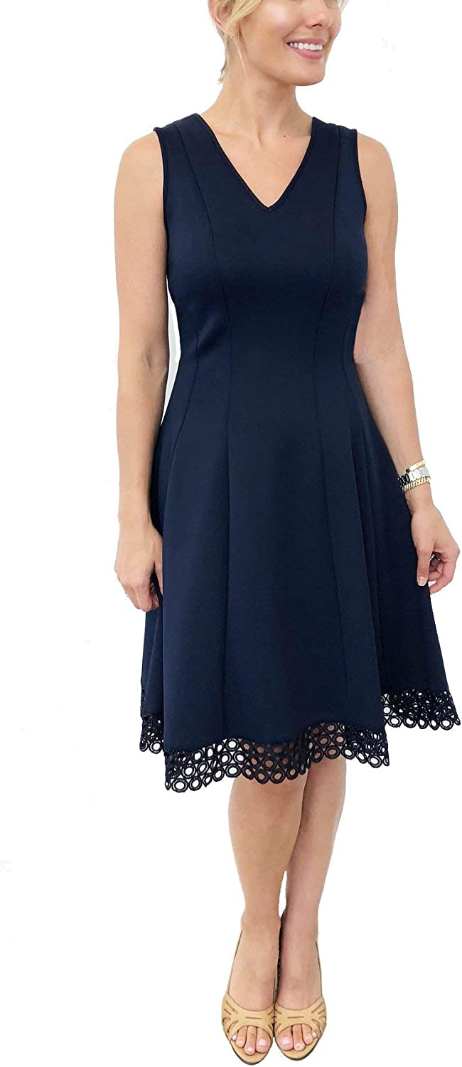 Donna Ricco Women's V-Neck Circle Lace Fit and Flare Dress