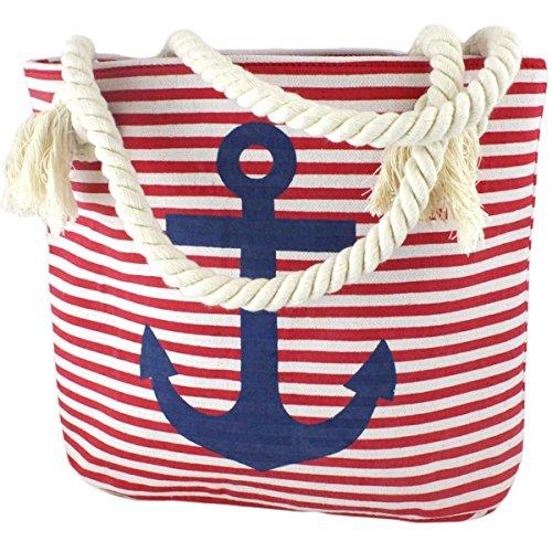 Sonia Originelli XS Shopper Anker Sarah Einkaufstasche Tasche Maritim Farbe Rot-Marine