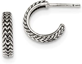 925 Sterling Silver Small Zig Zag Hoop Post Stud Earrings Ear Hoops Set Fine Jewelry Gifts For Women For Her
