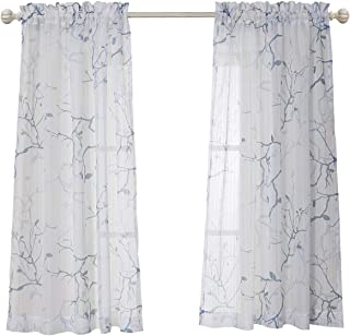 MYSKY HOME Leaves Fashion Design Print Striped White Sheer Curtains with Rod Pocket for Dining Room, 52 by 63 inch, Blue, 2 Curtain Panels