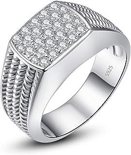 خاتم خطوبة من الفضة الإسترلينية 10 مم من بونلافي، خاتم مستدير مستدير زركونيا مكعب تمهيد تشيكوسلوفاكيا خاتم الزفاف للرجال