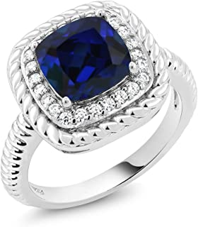 Gem Stone King 925 Sterling Silver Blue Simulated Sapphire Women's Engagement Ring (2.50 Ct Cushion Cut, Available 5,6,7,8,9)