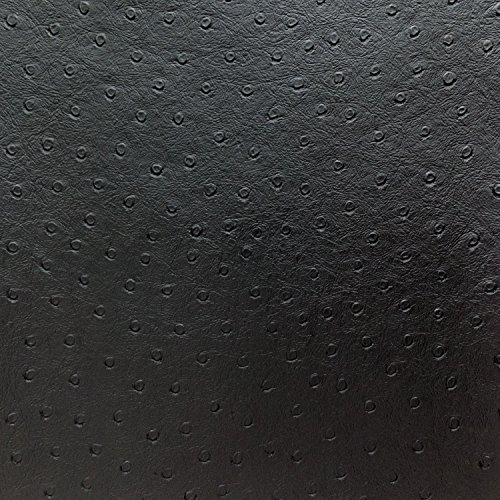 Faux Leather Ostrich Vinyl Black 56 Inch Fabric by The Yard (F.E.