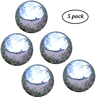 """Kanff Stainless Steel 2"""" Gazing Ball for Homes and Gardens Ornament, Hollow Ball Mirror Polished Shiny Sphere, Pack of 5"""