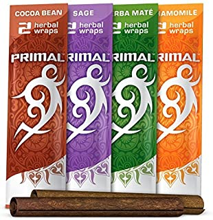 Primal Herbal Wraps Variety Pack, Tobacco & Nicotine Free (12 Total Wraps, 6 Packs of 2) + Beamer Smoke Sticker. Use with Herbal Blends. Compare to Rolling Paper