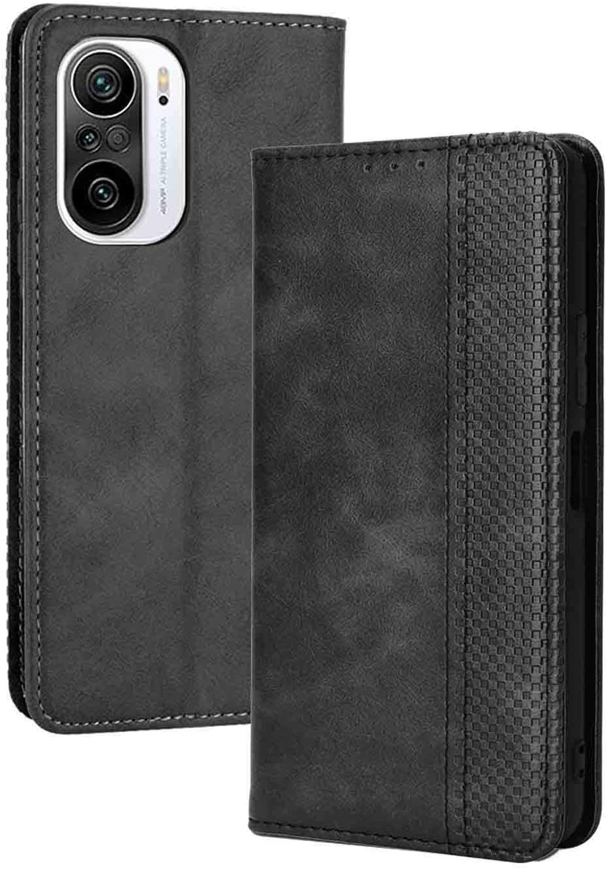 LEYAN Funda para Xiaomi Poco F3 / Xiaomi Mi 11i 5G Funda, Leather Folio Carcasa con Billetera, Magnética Premium PU/TPU Cuero FILP Case Cover con Soporte/Tapa Tarjetas (Negro)