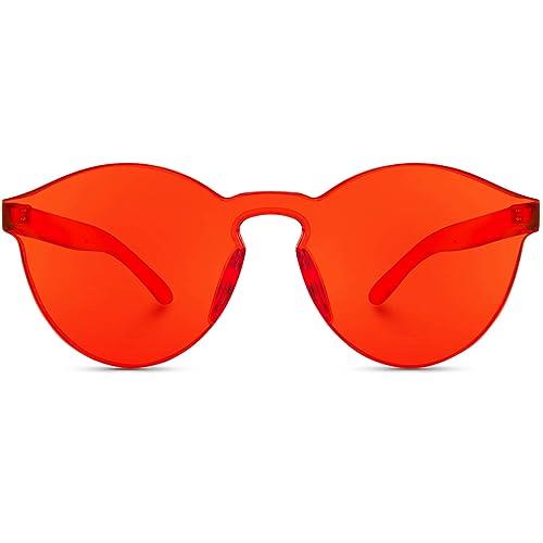 b93a446f7032 WearMe Pro - Colorful One Piece Transparent Round Super Retro Sunglasses