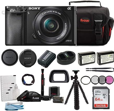 Sony Alpha ILCE-6000L/B A6000con 16–50mm Lens Bundle con Kit de accesorios de cámara digital (Negro)