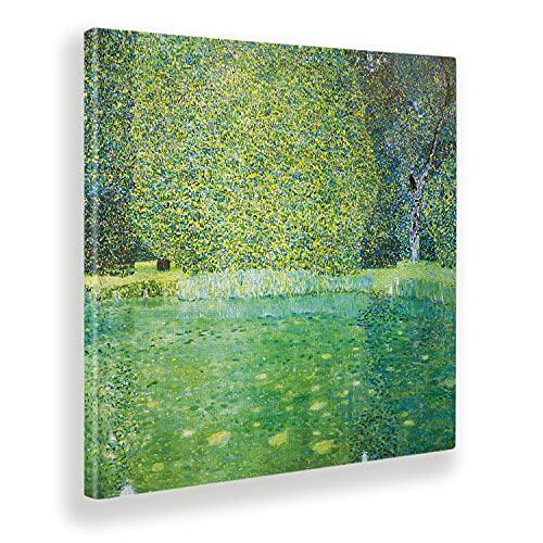 Giallobus - Cuadro - Gustav Klimt - Estanque en Kammer - Lienzo - 100x100 - Listo para Colgar - Cuadros Modernos para el hogar