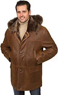 Aston Leather Men's Brooklyn Shearling Coat Rugged Castano