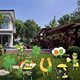 OceanWings Yard Decorations, 8 Packs Yard Signs for Yard Lawn Outdoor Decor,Signs with Stakes Shamrock & Four Leaf Clover Irishman Horseshoe Pot of Gold & Beer Glass Sign
