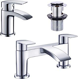 Hapilife Cloakroom Basin Sink Mixer Tap + Bath Filler Bathroom Taps Set