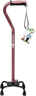 Hugo Adjustable Quad Cane for Right or Left Hand Use, Rose, Small Base