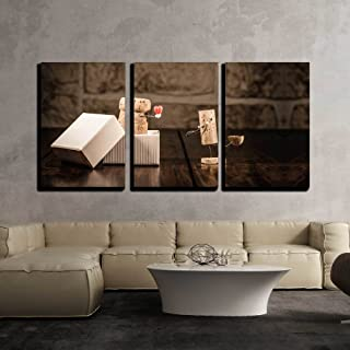 wall26 - 3 Piece Canvas Wall Art - Concept Love Present with Wine Cork Figures - Modern Home Decor Stretched and Framed Ready to Hang - 24