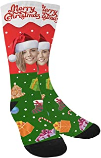 Custom Face on Socks, Merry Christmas Snowflake Gift Socks with Personalized Faces on Them