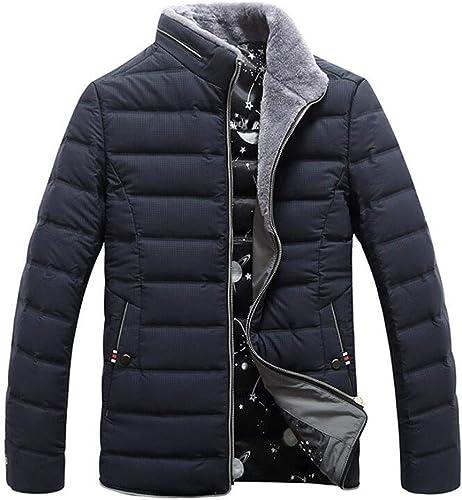 DAFREW Veste en Duvet Hommes, col Montant Manteau de Fourrure de Mode, Hiver épaissir Garder Manteau Chaud (Couleur   Noir, Taille   L)