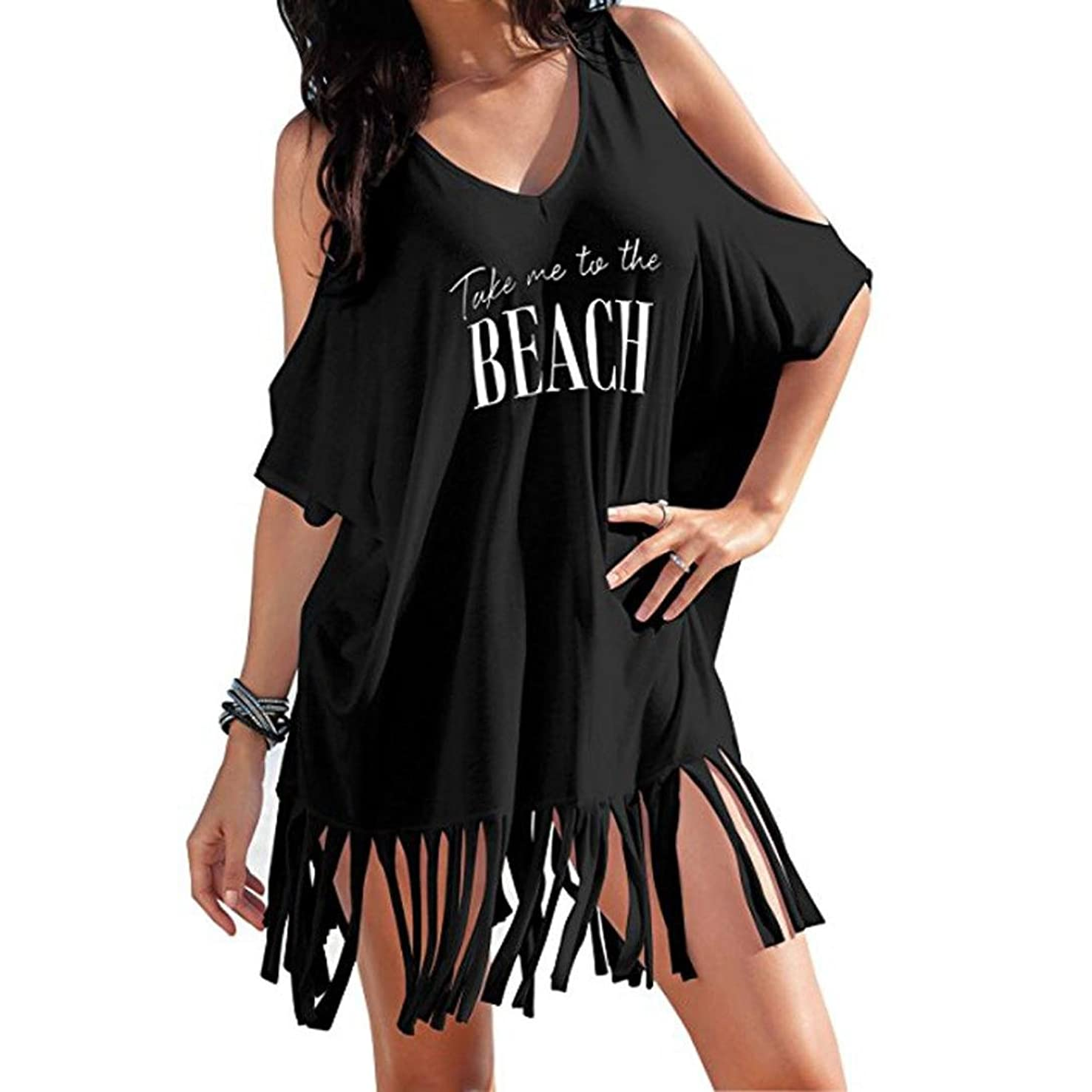 Women Summer Swimwear Cover Up,Todaies Womens Tassel Letters Print Swimwear Bikini Cover Beach Dress