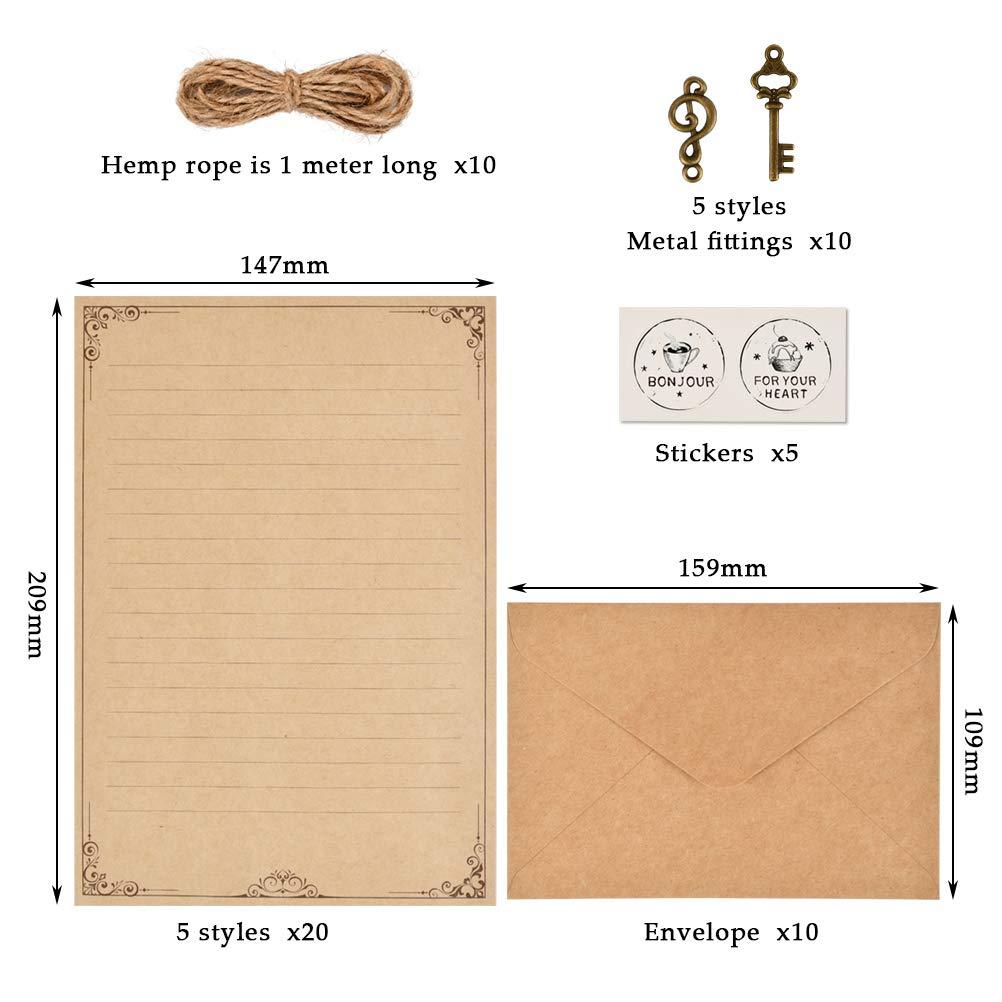 ورق قرطاسية عتيق مظاريف من Ofnmy مجموعة أدوات كتابة الرسائل الورقية Amazon Ae