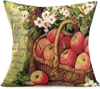 YANGYULU Decorative Vintage Throw Pillow Covers Cotton Linen Flowers Pattern Farmhouse Pillow Case Teapot Cups Lettering C...