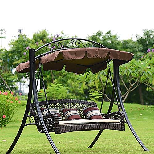 L.BAN Swing Hammock Garden Patio Swing Chair 3 posti Sedia a Dondolo in Metallo Amaca con baldacchino Staccabile, per terrazza del Cortile