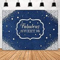 新しいデニムとダイヤモンドのテーマ誕生日パーティーの装飾女の子のための背景FabilousSweet 16th Glitter Diamonds and Jeans Photography Background Banner Photo Studio Props Vinyl 7x5ft
