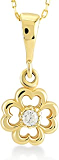Gelin 14k Yellow Gold Heart Shaped 4-Four Leaf Clover Pendant Chain Necklace Women - Certified Fine Jewelry Birthday Gift Good Luck, 18 inch