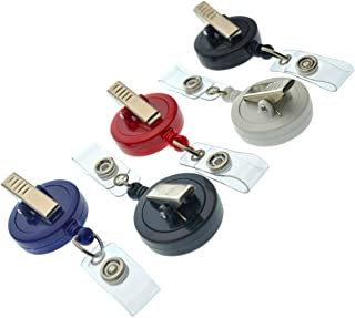 15 Pack of Premium Retractable ID Badge Reels with Alligator Clip in Solid Colors (Assorted Colors)