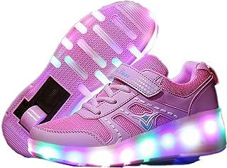 c5fe93eec9e Zapatillas de deporte de moda LED para niños, niñas y niños, ruedas con  ruedas