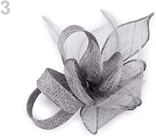1pc Lightgrey Fascinator/Brooch Flower with Feathers, Fascinators, Fashion Hats and, Accessories