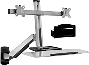 Mount-It! Sit Stand Dual Monitor Wall Mount Workstation & Stand Up Computer Station with Articulating Keyboard Tray Arm and CPU Holder