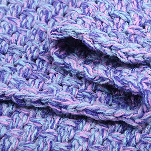 "LAGHCAT Mermaid Tail Blanket Crochet Mermaid Blanket for Adult, Soft All Seasons Sleeping Blankets, Whale Tail Pattern (71""x35.5"", Purple)"