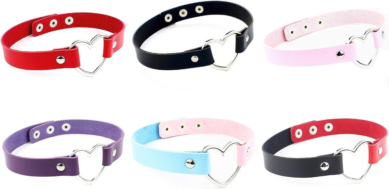 Heart Leather Choker Punk Necklace Goth Soft PU Collar for Women Men Girls Adjustable