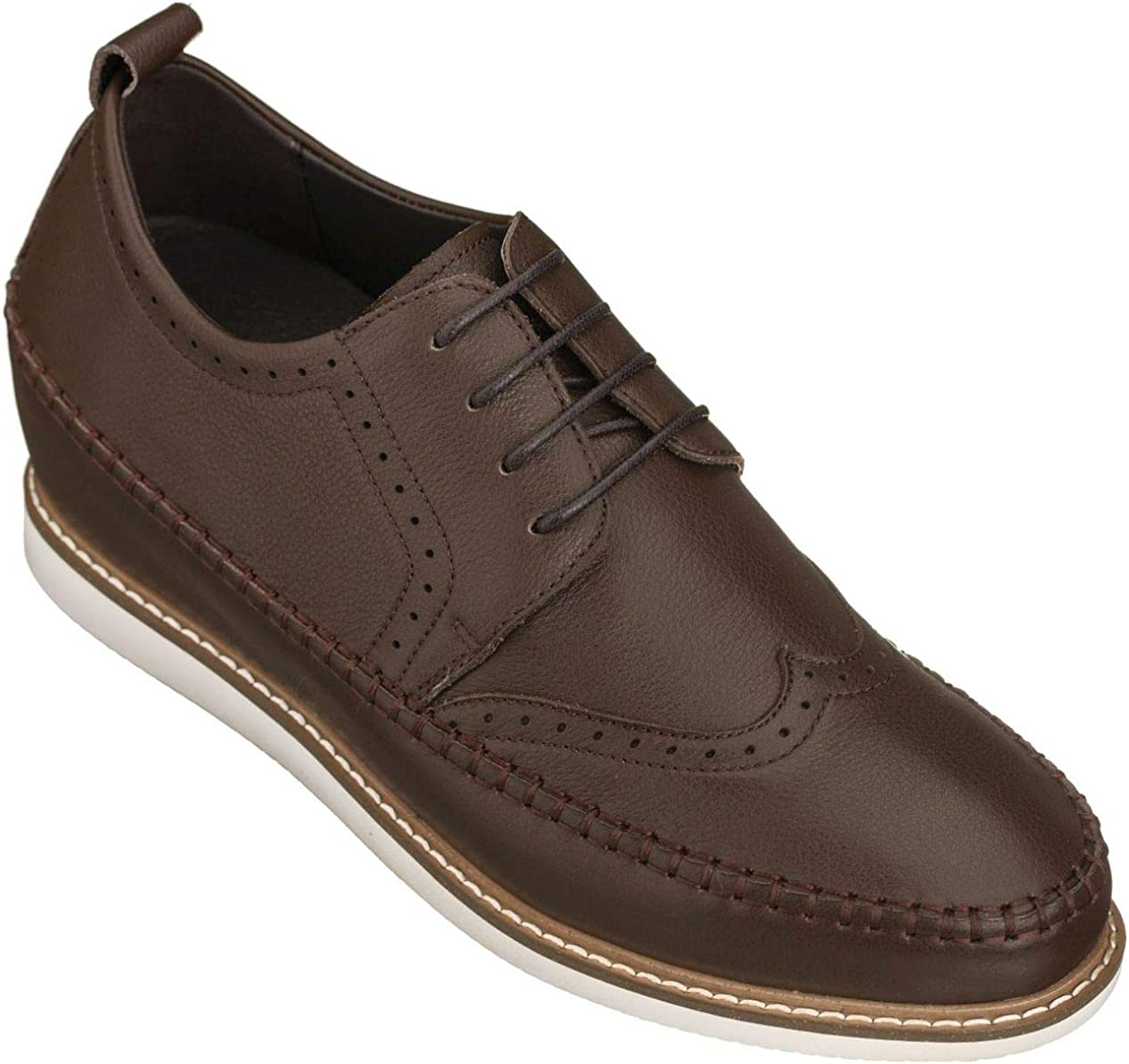 CALTO Men's Invisible Height Increasing Elevator Shoes - Premium Suede Lace-up Dress Formal Wing-tip Oxfords - 3 Inches Taller