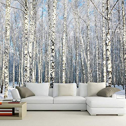 Fototapete Winter-Birkenwald Natur 3D Gedruckt Vliestapete Haus Dekoration Fototapeten Für Wohnzimmerfernsehstab-Hintergrundwand Wandtapete 400x280 cm