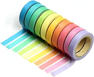 ROSENICE Washi Tape Decorative Sticky Paper Masking Adhesive Tape Scrapbooking Diy - 10 Rolls