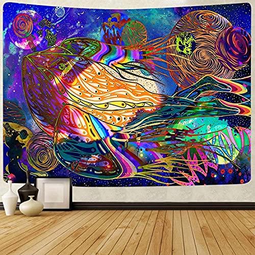 Escena Psicodélica Tapiz De Ola Bohemio Tapiz Tapices De Pared Hippie Decoración Para Dormitorio Salon Sala De Estar59X59Inch(150X150Cm)