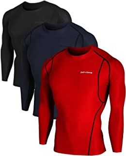 DEVOPS Men's 3 Pack Cool Dry Athletic Compression Long Sleeve Baselayer Workout T-Shirts