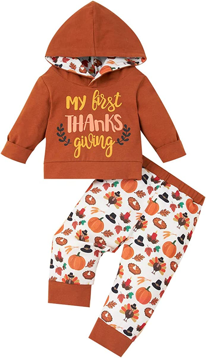 Infant Baby Girl Boy Thanksgiving Outfit My First Thanksgiving Hoodie Sweatshirt Tops Pants Turkey 2PCS Clothes Set