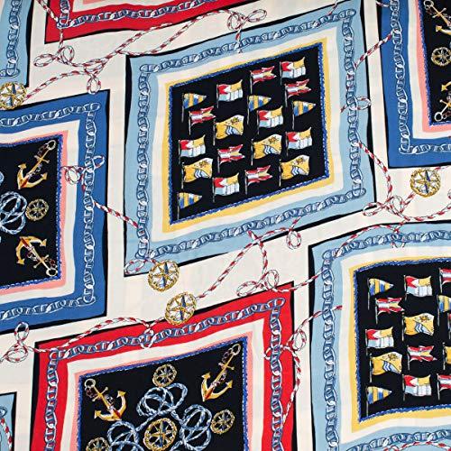 Mooi leven. Bekleding stof bloes stof viscose anker vlaggen touw in frame crème zwart blauw rood geel 1,45 m breedte