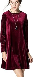 Women's New A-Line Loose Crewneck Print Casual Velvet Dress Party Short Dress