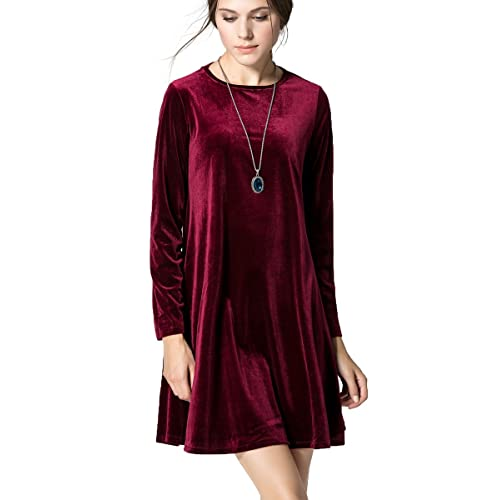 fe3a674d89cd K S Women s New A-Line Loose Crewneck Print Casual Velvet Dress Party Short  Dress