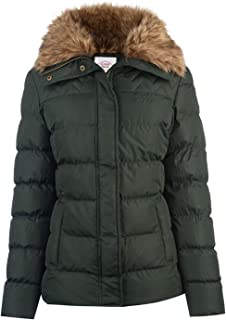 Fur Collar Jacket Womens Green Outdoor Top Ladies Outerwear UK 8 (X-Small)